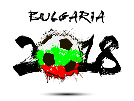 Abstract number 2018 and soccer ball painted in the colors of the Bulgaria flag. Illustration