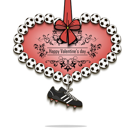 Happy Valentines Day. Heart from soccer balls and dangling on a lace football boots. Vector illustration