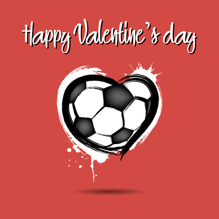 Soccer ball shaped as a heart Happy Valentines Day Vector illustration. Ilustração