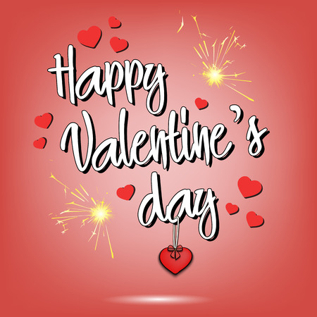 Happy Valentines day and hearts postcard vector illustration.
