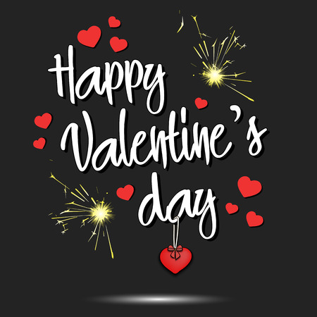 Happy Valentines Day and hearts. Postcard Valentines day. Vector illustration