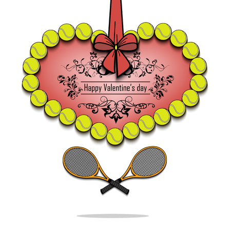 Happy Valentines Day. Tennis balls laid out in the shape of the heart and tennis rackets decorated with a bow. Vector illustration Illustration