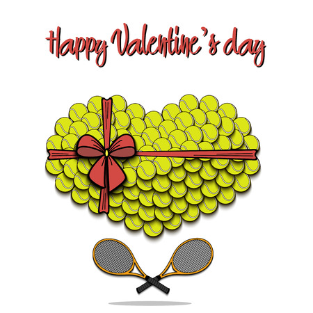 Valentines Day theme, Tennis balls laid out in the shape of the heart and tennis rackets decorated with a bow.