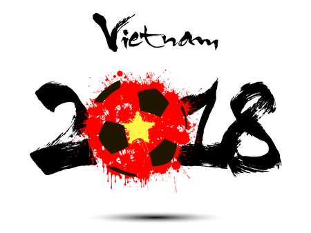 Abstract number 2018 and soccer ball painted in the colors of the Vietnam flag. Vector illustration