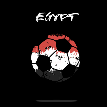 Abstract soccer ball painted in the colors of Egypt flag. Illustration