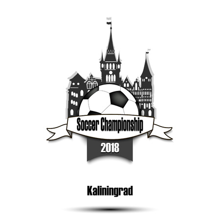 Logo Soccer championship 2018. Football tournament at City Kaliningrad. Vector illustration