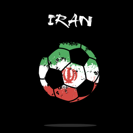Abstract soccer ball painted in the colors of the Iran flag. Vector illustration