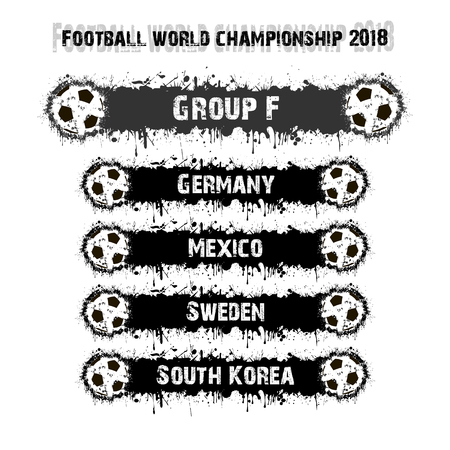 Soccer tournament 2018. Football championship group F. Vector illustration