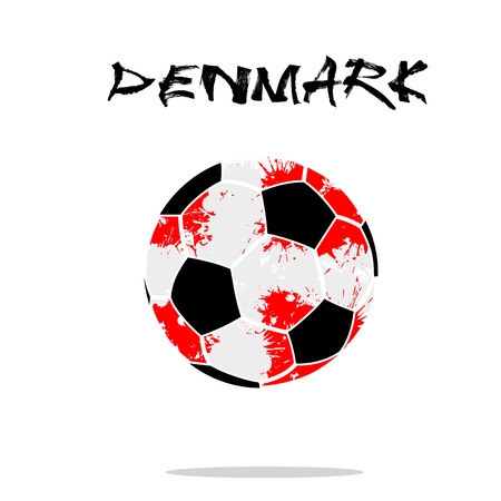 Abstract soccer ball painted in the colors of the Denmark flag. Vector illustration Stock Illustratie