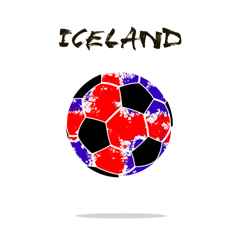 Abstract soccer ball painted in the colors of the Iceland flag. Vector illustration Illustration