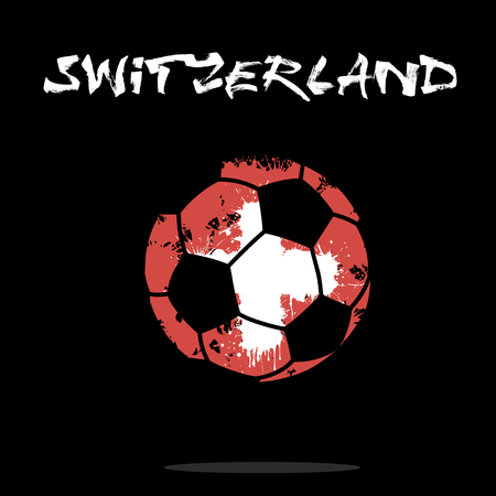 Abstract soccer ball painted in the colors of the Switzerland flag. Vector illustration