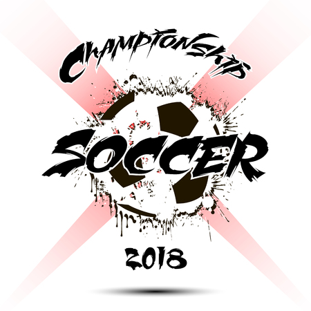 Banner the inscription soccer on the background abstract soccer ball from blots.