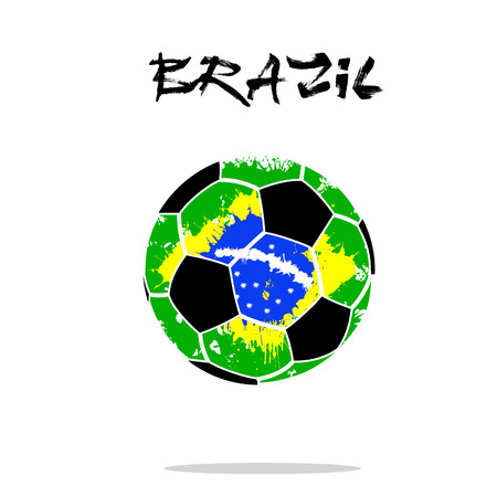 Abstract soccer ball painted in the colors of the Brazil flag. Vector illustration Stock Illustratie