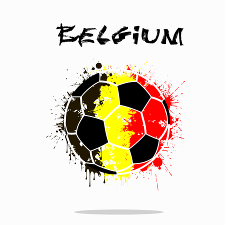 Abstract soccer ball painted in the colors of the Belgium flag. Vector illustration