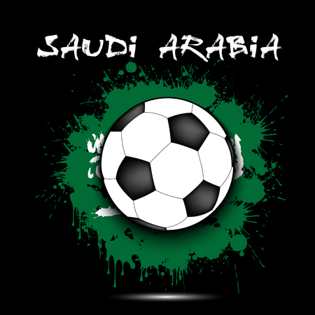 Soccer ball against the background of the Saudi Arabia flag of paint blots. Vector illustration Illustration