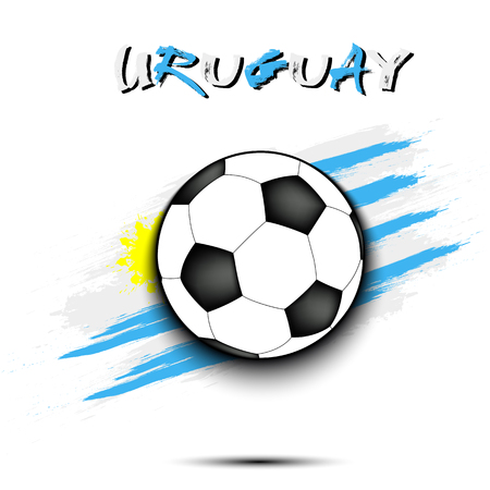 Soccer ball on the background of the Uruguay flag in grunge style. Vector illustration
