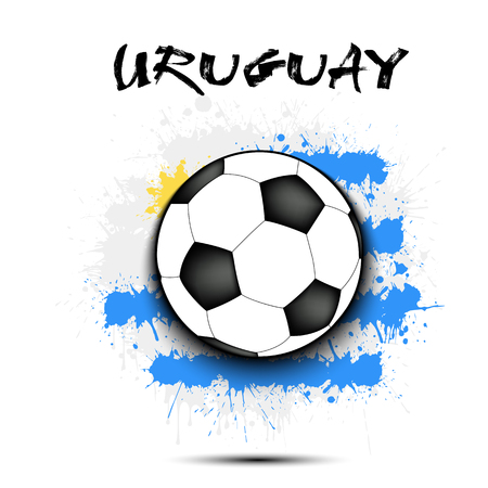 Soccer ball against the background of the Uruguay flag of paint blots. Vector illustration.