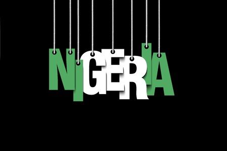 The word Nigeria hang on the ropes. Vector illustration