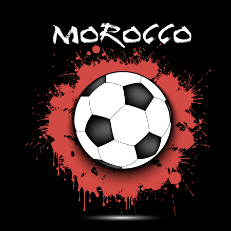Soccer ball against the background of the Morocco flag of paint blots. Vector illustration