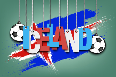 Banner the inscription Iceland and ball hang on the ropes on the background of the Iceland flag. Vector illustration Illustration