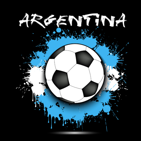 Soccer ball against the background of the Argentina flag of paint blots. Vector illustration 向量圖像