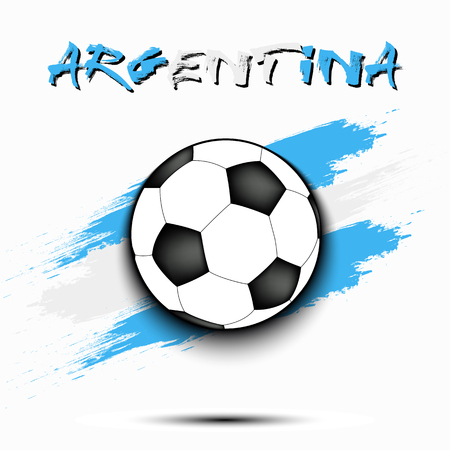 Soccer ball on the background of the Argentina flag in grunge style. Vector illustration