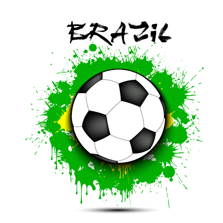 Soccer ball against the background of the Brazil flag of paint blots. Vector illustration Stock Illustratie