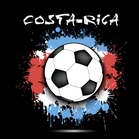 Soccer ball against the background of the Costa Rica flag of paint blots. Vector illustration Illustration