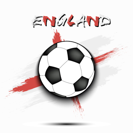 Soccer ball on the background of the England flag in grunge style. Vector illustration 矢量图像