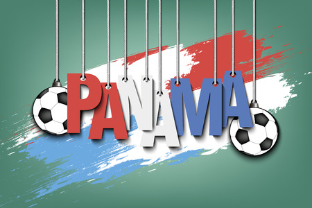 Banner the inscription Panama and ball hang on the ropes on the background of the Panama flag. Vector illustration Stock fotó - 100119069