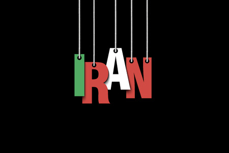 The word Iran hang on the ropes. Vector illustration.