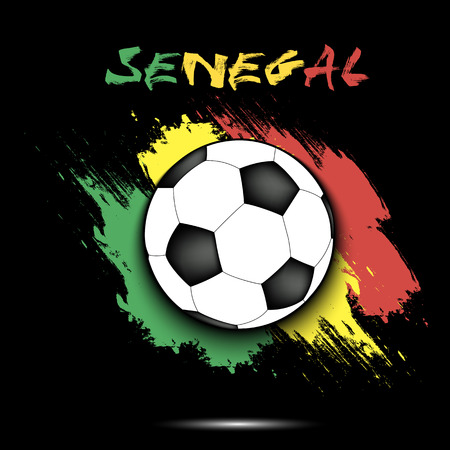 Soccer ball on the background of the Senegal flag in grunge style vector illustration.