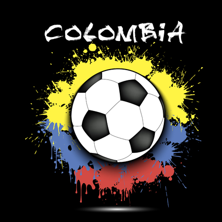 Soccer ball against the background of the Colombia flag of paint blots. Vector illustration Vector Illustration