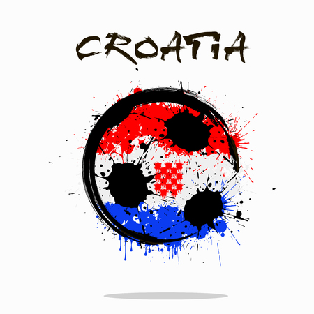 Abstract soccer ball painted in the colors of the Croatia flag. Vector illustration Stock Illustratie