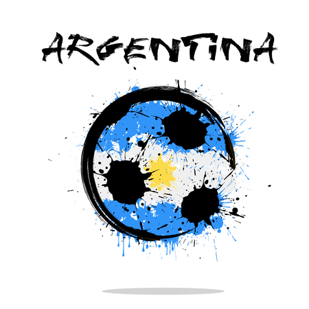 Abstract soccer ball painted with the colors of Argentina flag. Illustration