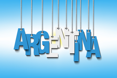 The word Argentina hanging on the ropes. Illustration