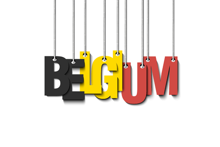 The word Belgium hang on the ropes. Vector illustration  イラスト・ベクター素材
