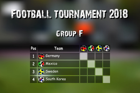 Football results table. Countries participating to the international soccer tournament 2018 group F. Vector illustration