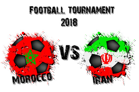Soccer game Morocco vs Iran. Football tournament match 2018. Vector illustration