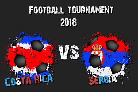 Soccer game Costa Rica vs Serbia. Football tournament match 2018. Vector illustration