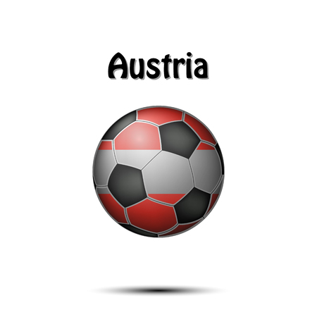 Soccer ball painted in the colors of the Netherlands flag. Vector illustration