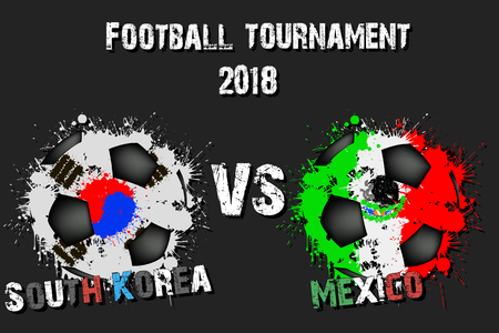 Soccer game South Korea vs Mexico. Football tournament match 2018. Vector illustration  イラスト・ベクター素材