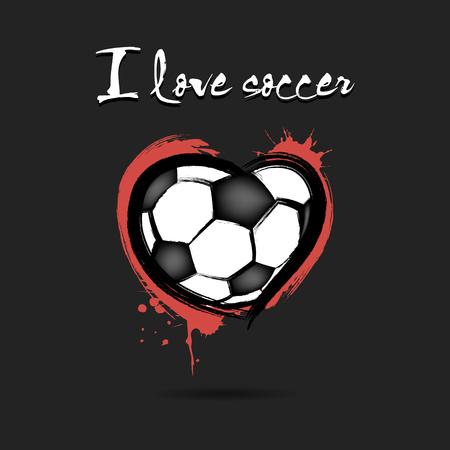 I love soccer. Soccer ball shaped as a heart. Vector illustration