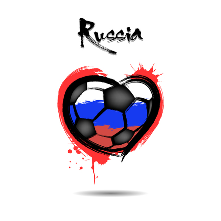 Abstract soccer ball shaped as a heart painted in the colors of the Russia flag. Vector illustration