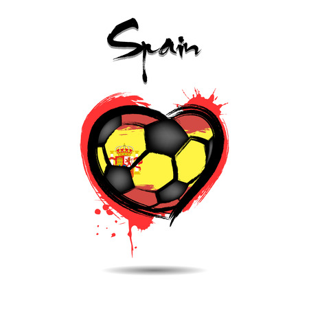 Abstract soccer ball shaped as a heart painted in the colors of the Spain flag. Vector illustration