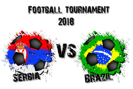 Soccer game Serbia vs Brazil. Football tournament match 2018. Vector illustration