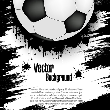 Soccer ball background. Football banner with soccer ball and text field on green background. Vector illustration