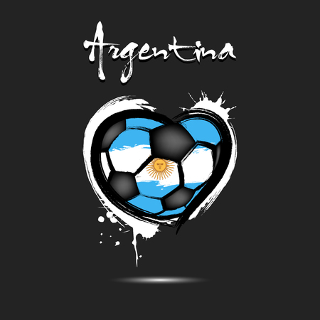Abstract soccer ball shaped as a heart painted in the colors of the Argentina flag. Vector illustration