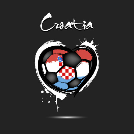 Abstract soccer ball shaped as a heart painted in the colors of the Croatia flag. Vector illustration Vektorgrafik