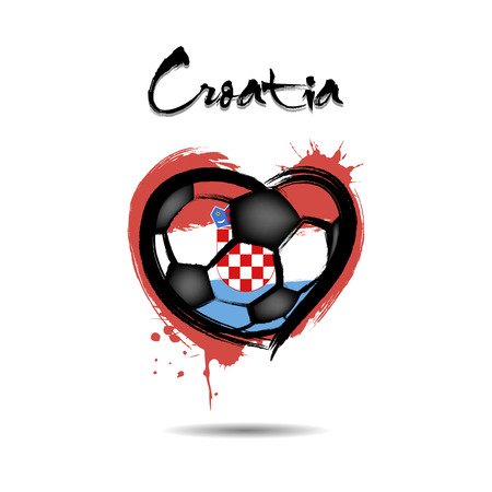 Abstract soccer ball shaped as a heart painted in the colors of the Croatia flag. Vector illustration